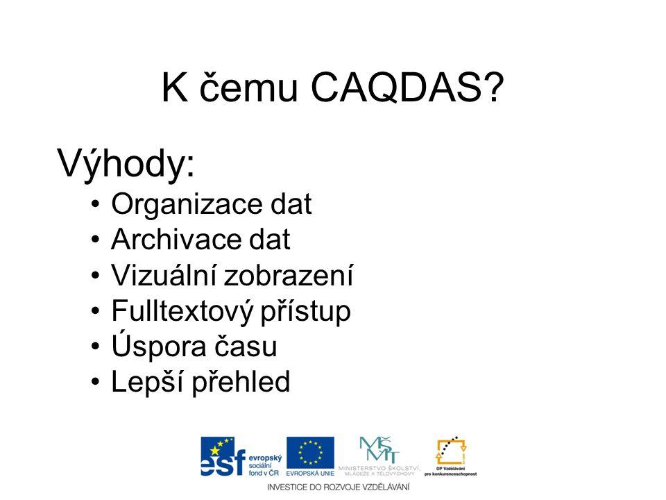 K čemu CAQDAS? Výhody: •Organizace dat •Archivace dat •Vizuální zobrazení •Fulltextový přístup •Úspora času •Lepší přehled