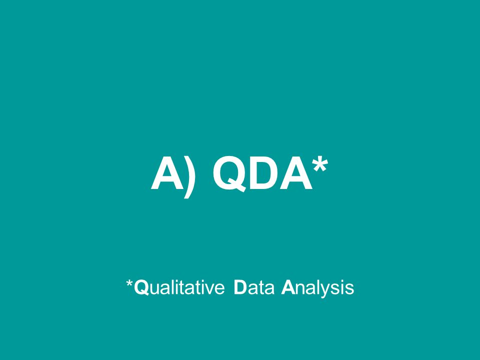 A) QDA* *Qualitative Data Analysis
