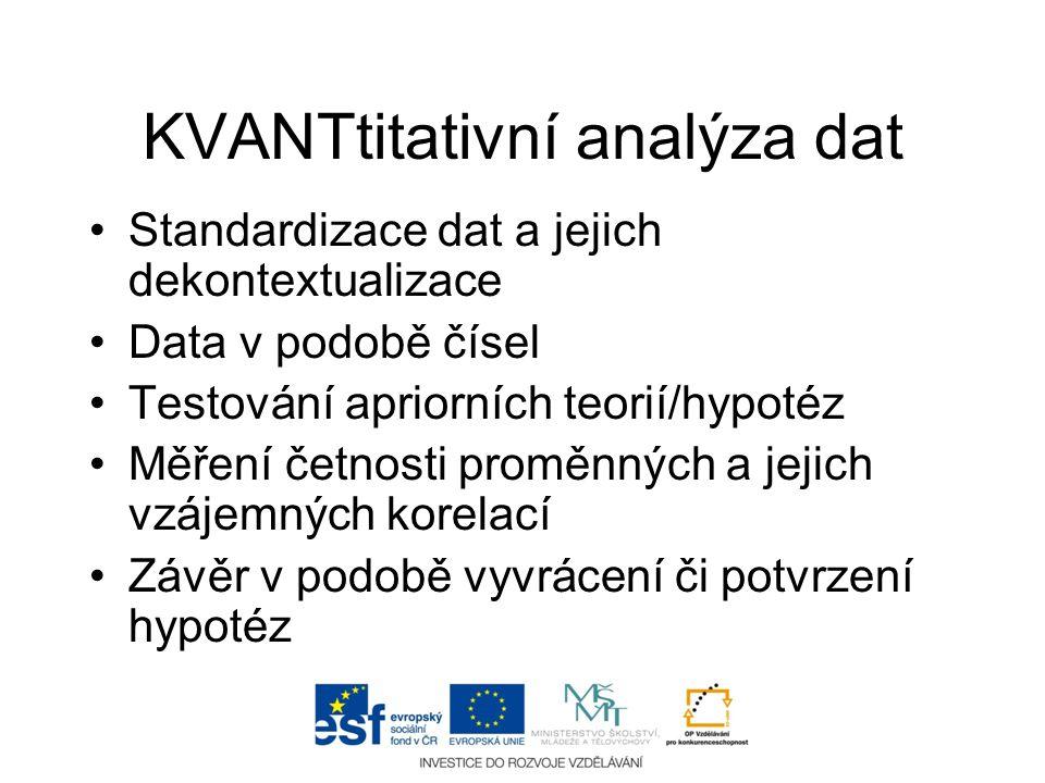 KVANTtitativní analýza dat •Standardizace dat a jejich dekontextualizace •Data v podobě čísel •Testování apriorních teorií/hypotéz •Měření četnosti pr