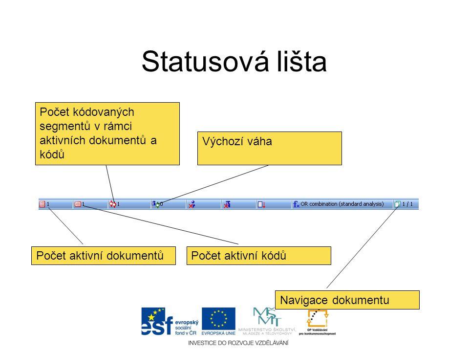Statusová lišta Počet aktivní dokumentů Počet aktivní kódů Počet kódovaných segmentů v rámci aktivních dokumentů a kódů Výchozí váha Navigace dokument