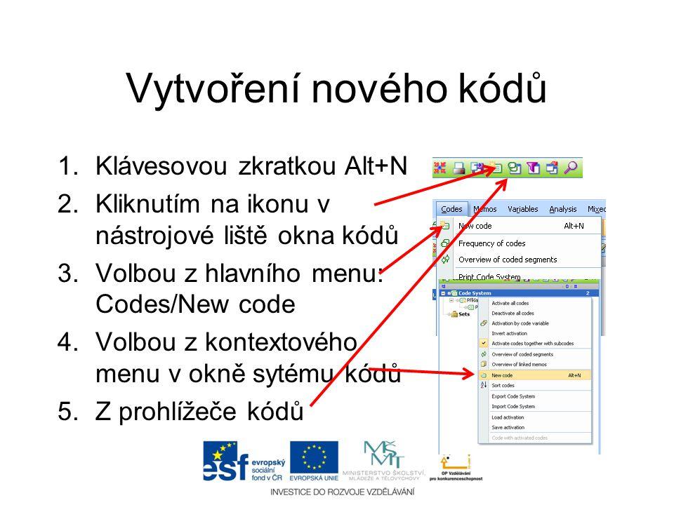 Vytvoření nového kódů 1.Klávesovou zkratkou Alt+N 2.Kliknutím na ikonu v nástrojové liště okna kódů 3.Volbou z hlavního menu: Codes/New code 4.Volbou