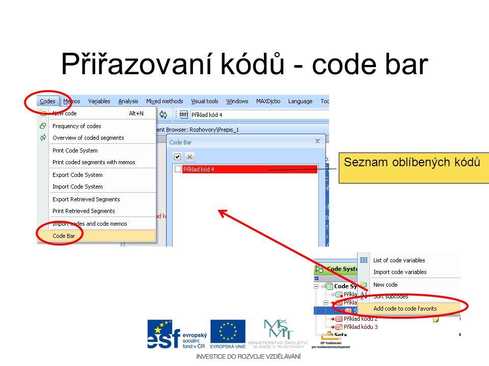 Přiřazovaní kódů - code bar Seznam oblíbených kódů