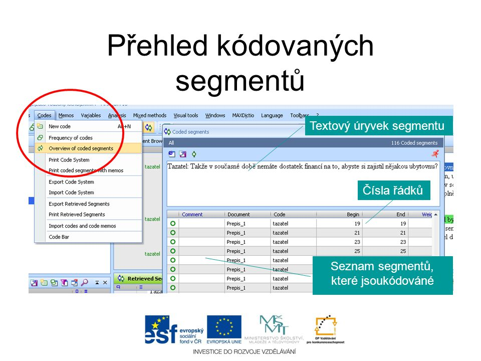 Přehled kódovaných segmentů Seznam segmentů, které jsoukódováné Textový úryvek segmentu Čísla řádků