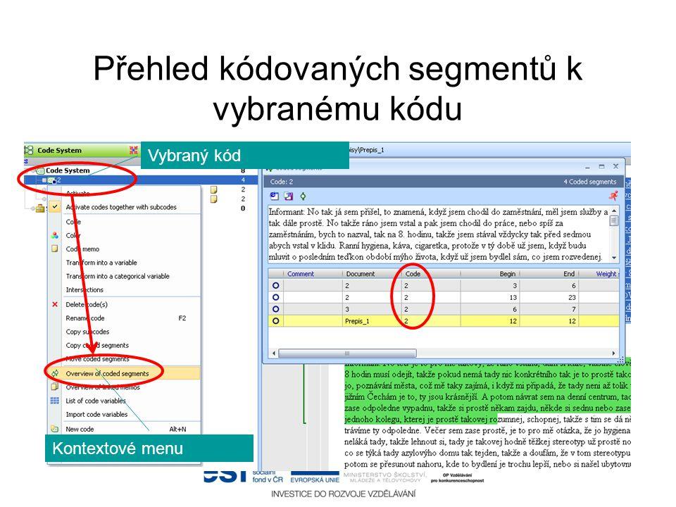 Přehled kódovaných segmentů k vybranému kódu Vybraný kód Kontextové menu