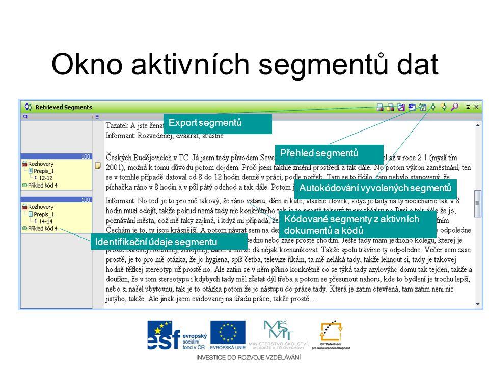 Okno aktivních segmentů dat Kódované segmenty z aktivních dokumentů a kódů Identifikační údaje segmentu Přehled segmentů Autokódování vyvolaných segme