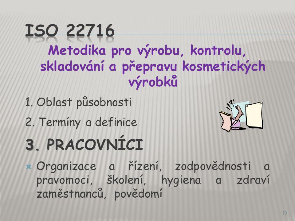  Byla vydána v dubnu 2008 ČSN EN ISO 22716  Požadavek na zavedenou SVP je ve Vyhlášce.MZd.
