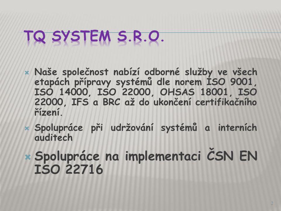 Zavádění SVP do výrobního procesu ČSN EN ISO 221716 1 Martina Veselá – TQ System s.r.o.