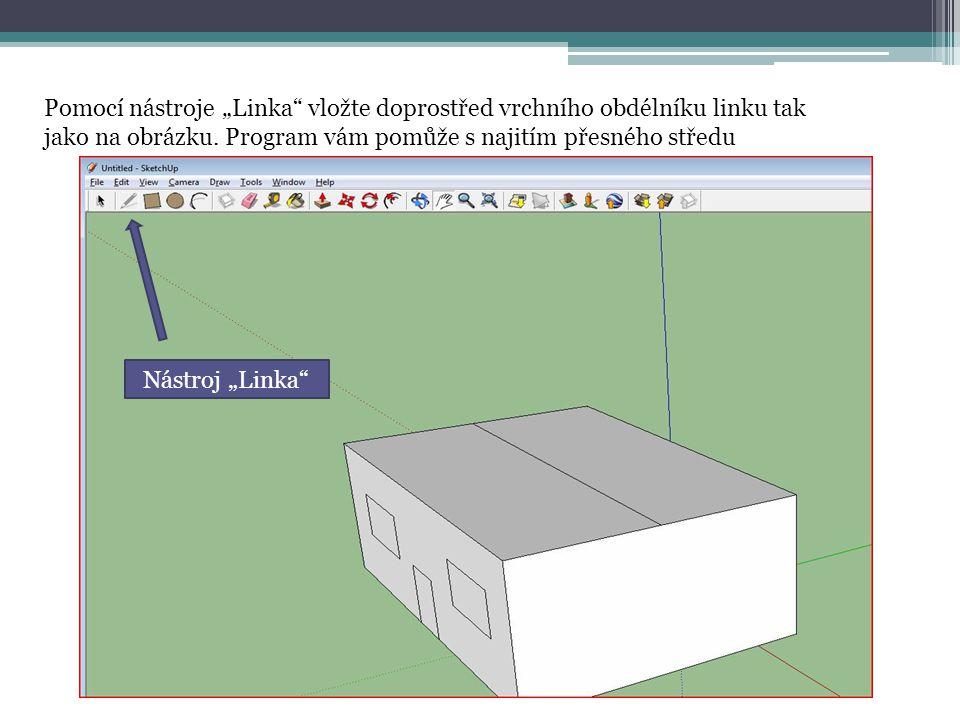 """Pomocí nástroje """"Linka"""" vložte doprostřed vrchního obdélníku linku tak jako na obrázku. Program vám pomůže s najitím přesného středu Nástroj """"Linka"""""""