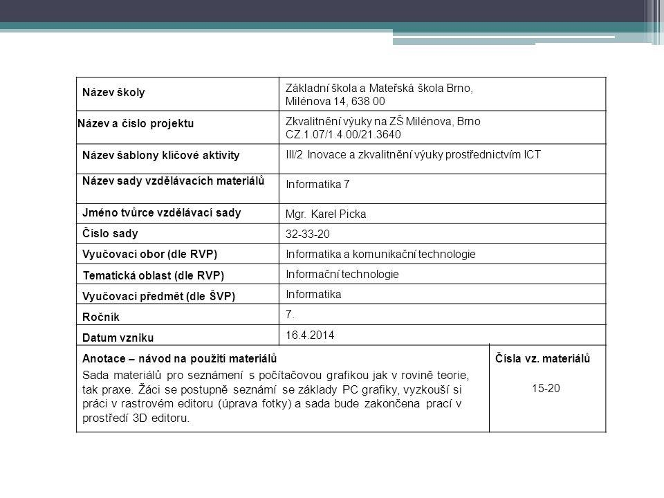 Základní škola a Mateřská škola Brno, Milénova 14, 638 00 Zkvalitnění výuky na ZŠ Milénova, Brno CZ.1.07/1.4.00/21.3640 III/2 Inovace a zkvalitnění vý