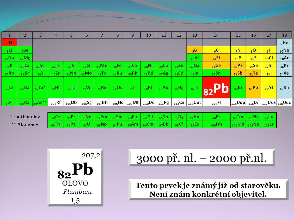 Obr.3 Obr.4 Obr.5 Obr.6Obr.7 VLASTNOSTI FYZIKÁLNÍ  měkký, velmi těžký kov  olovo je jedovaté  světle šedý, lesklý, krychlová struktura Obr.2  teplota tání +327,5 °C (600,6 K)  teplota varu +1 749 °C (2 022 K)  zvolna ztrácí lesk - tvoří se na něm šedobílá - brání další korozi  rozpustné sloučeniny olova jsou jedovaté  nevede elektrický proud  velmi dobře pohlcuje rentgenové záření