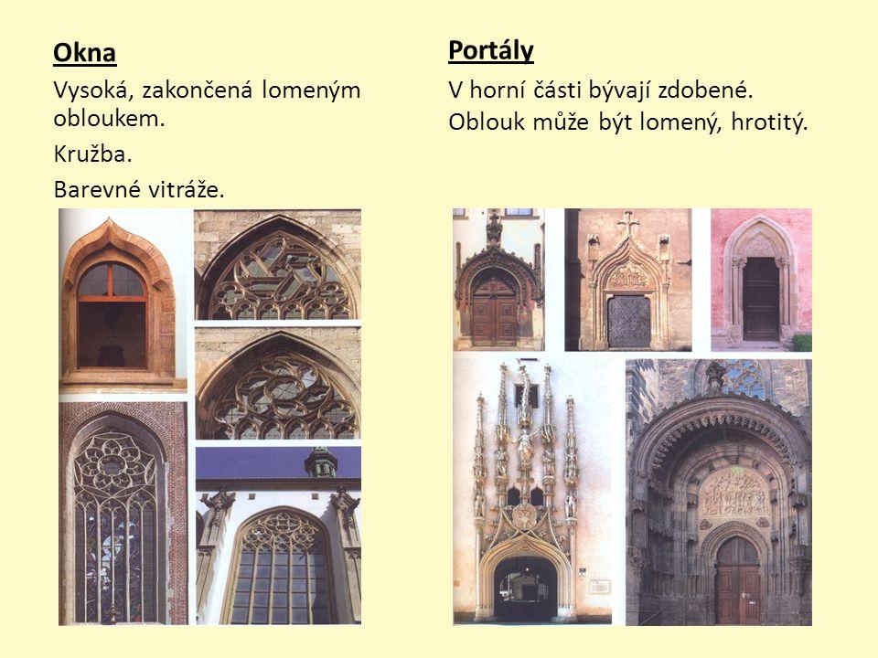 Okna Vysoká, zakončená lomeným obloukem. Kružba. Barevné vitráže. Portály V horní části bývají zdobené. Oblouk může být lomený, hrotitý.