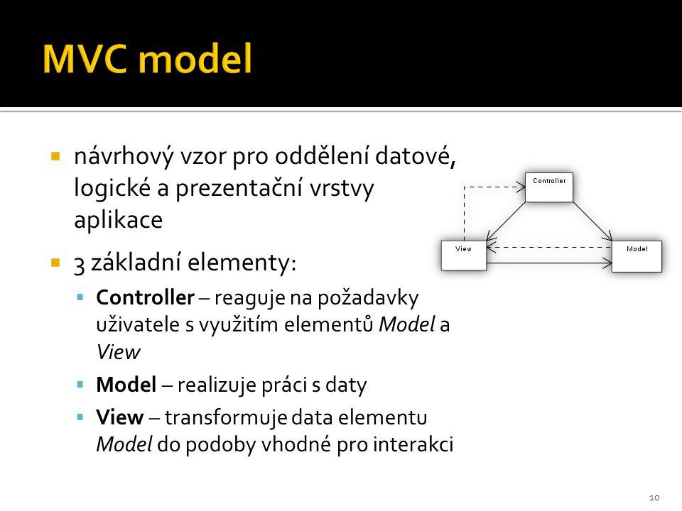 MVC model  návrhový vzor pro oddělení datové, logické a prezentační vrstvy aplikace  3 základní elementy:  Controller – reaguje na požadavky uživat