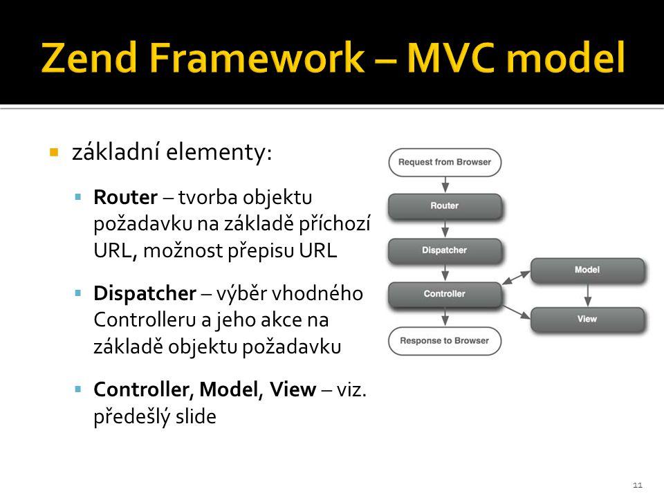 Zend Framework – MVC model  základní elementy:  Router – tvorba objektu požadavku na základě příchozí URL, možnost přepisu URL  Dispatcher – výběr