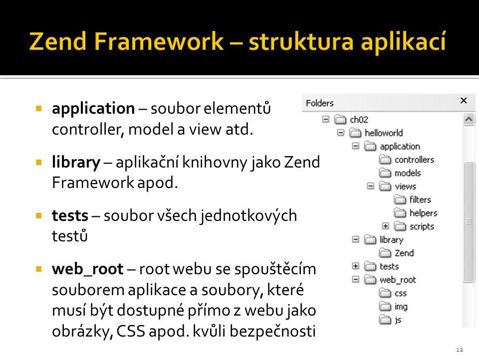 Zend Framework – struktura aplikací  application – soubor elementů controller, model a view atd.  library – aplikační knihovny jako Zend Framework a