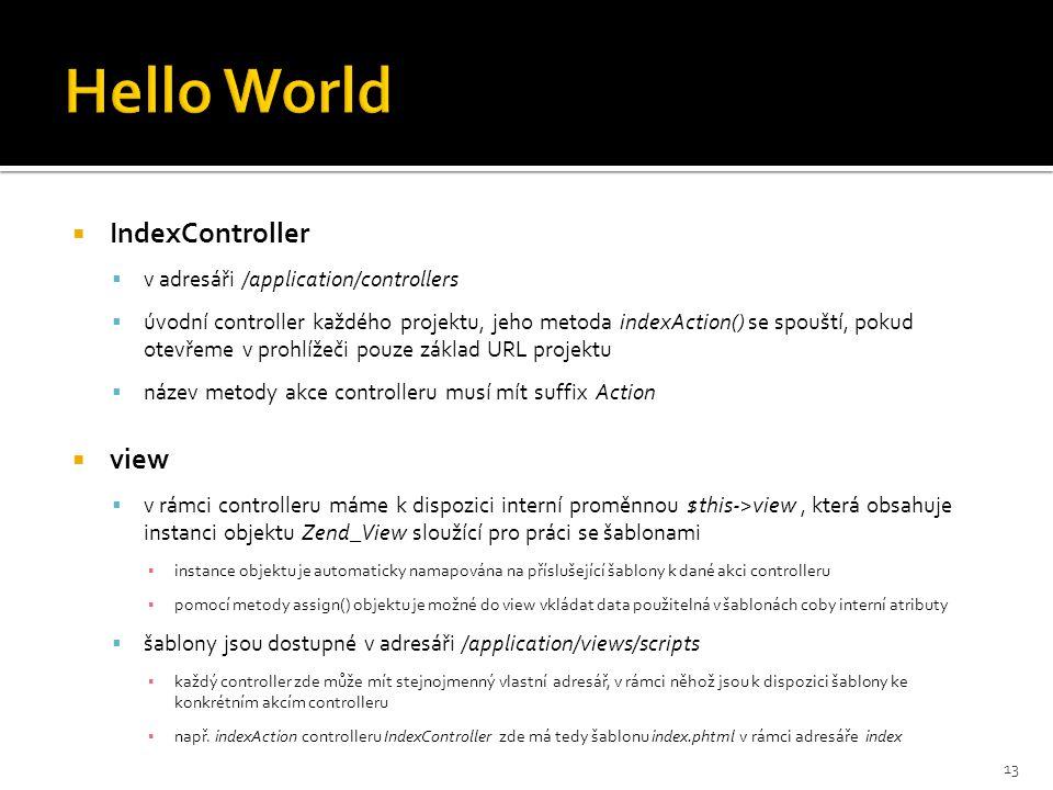  IndexController  v adresáři /application/controllers  úvodní controller každého projektu, jeho metoda indexAction() se spouští, pokud otevřeme v p