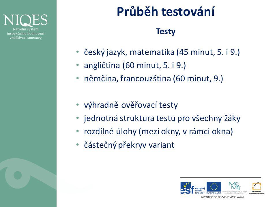 Průběh testování Testy • český jazyk, matematika (45 minut, 5. i 9.) • angličtina (60 minut, 5. i 9.) • němčina, francouzština (60 minut, 9.) • výhrad