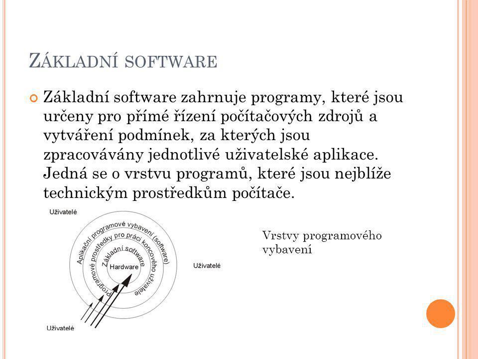 Z ÁKLADNÍ SOFTWARE Základní software zahrnuje programy, které jsou určeny pro přímé řízení počítačových zdrojů a vytváření podmínek, za kterých jsou zpracovávány jednotlivé uživatelské aplikace.