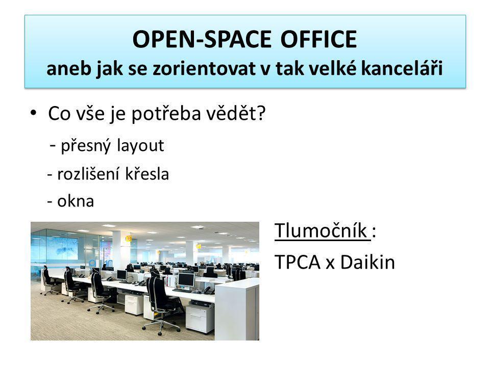 OPEN-SPACE OFFICE aneb jak se zorientovat v tak velké kanceláři • Co vše je potřeba vědět? - přesný layout - rozlišení křesla - okna Tlumočník : TPCA