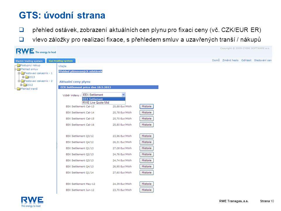 RWE Transgas, a.s.Strana 10 GTS: úvodní strana  přehled ostávek, zobrazení aktuálních cen plynu pro fixaci ceny (vč. CZK/EUR ER)  vlevo záložky pro