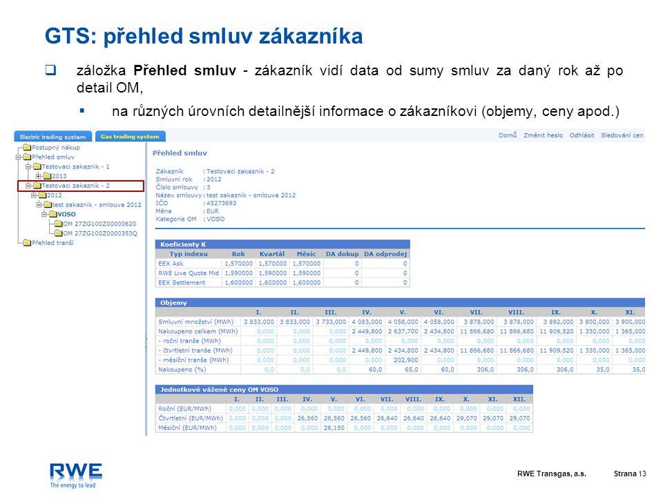 RWE Transgas, a.s.Strana 13 GTS: přehled smluv zákazníka  záložka Přehled smluv - zákazník vidí data od sumy smluv za daný rok až po detail OM,  na