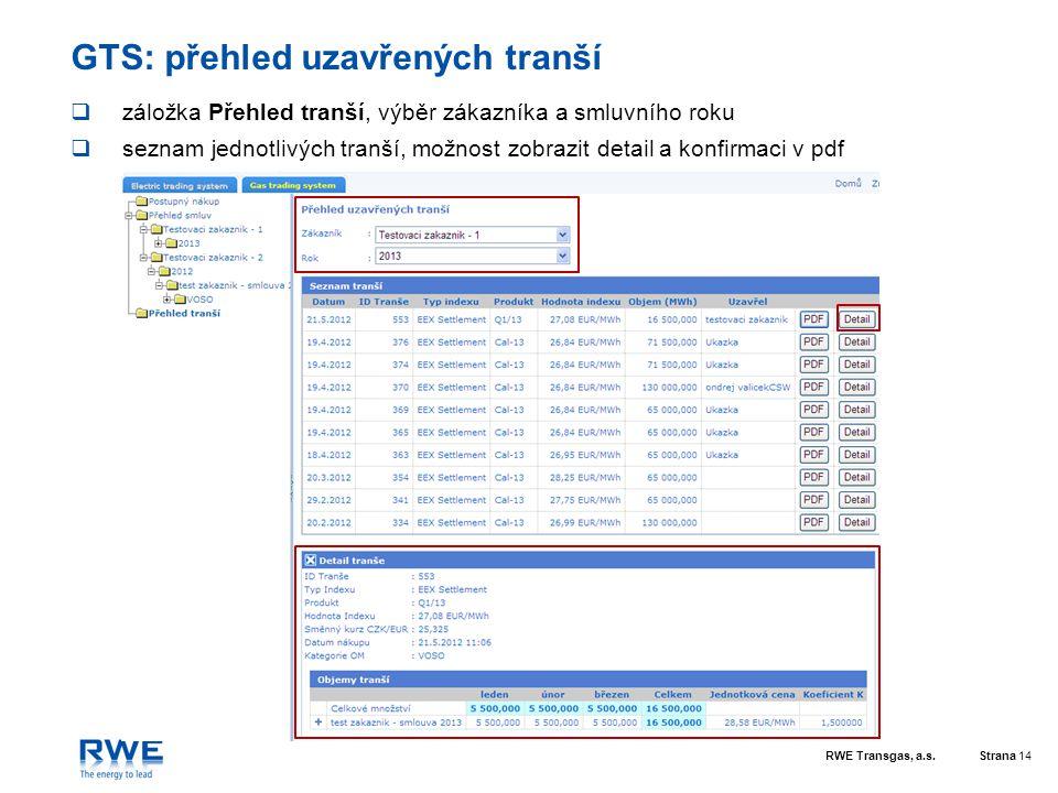 RWE Transgas, a.s.Strana 14 GTS: přehled uzavřených tranší  záložka Přehled tranší, výběr zákazníka a smluvního roku  seznam jednotlivých tranší, mo