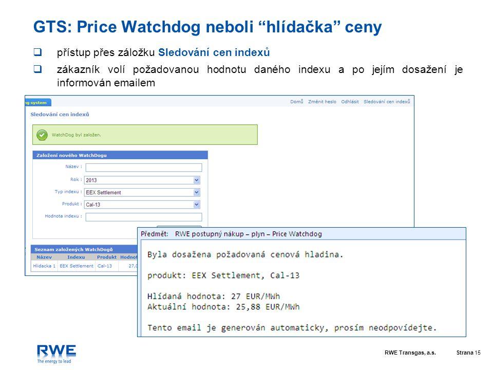"""RWE Transgas, a.s.Strana 15 GTS: Price Watchdog neboli """"hlídačka"""" ceny  přístup přes záložku Sledování cen indexů  zákazník volí požadovanou hodnotu"""