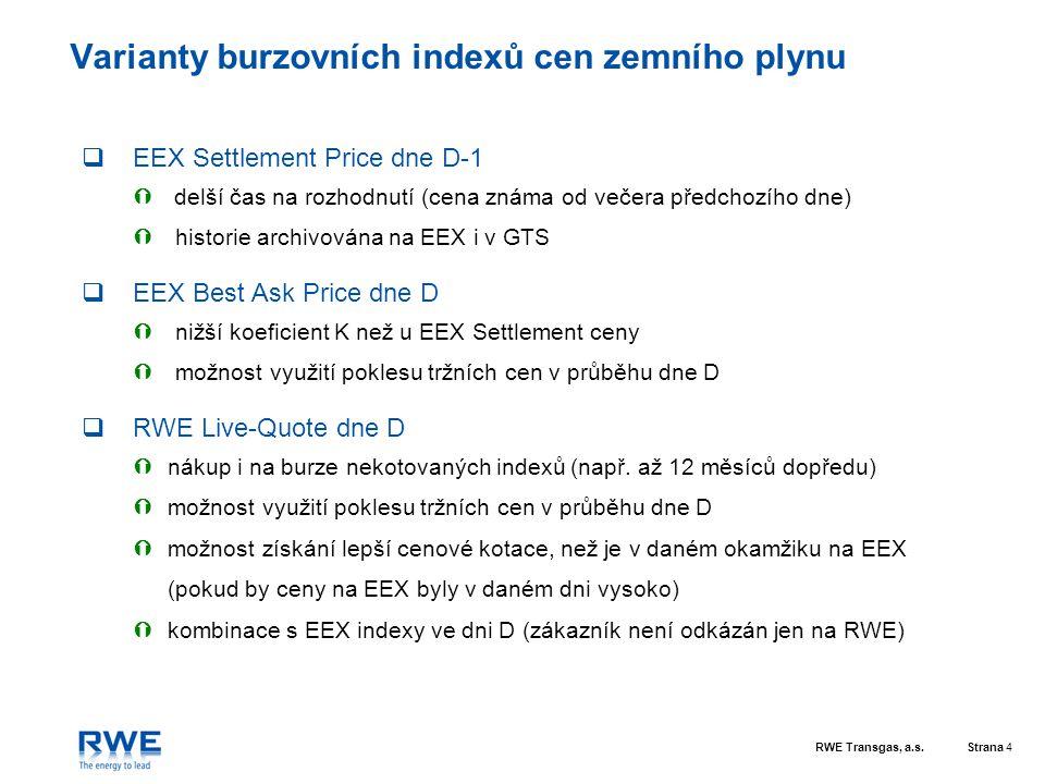 RWE Transgas, a.s.Strana 4 Varianty burzovních indexů cen zemního plynu  EEX Settlement Price dne D-1  delší čas na rozhodnutí (cena známa od večera