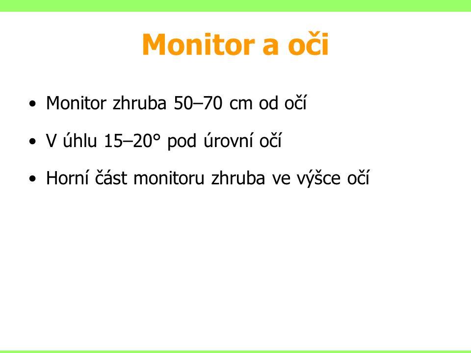 •Monitor zhruba 50–70 cm od očí •V úhlu 15–20° pod úrovní očí •Horní část monitoru zhruba ve výšce očí Monitor a oči