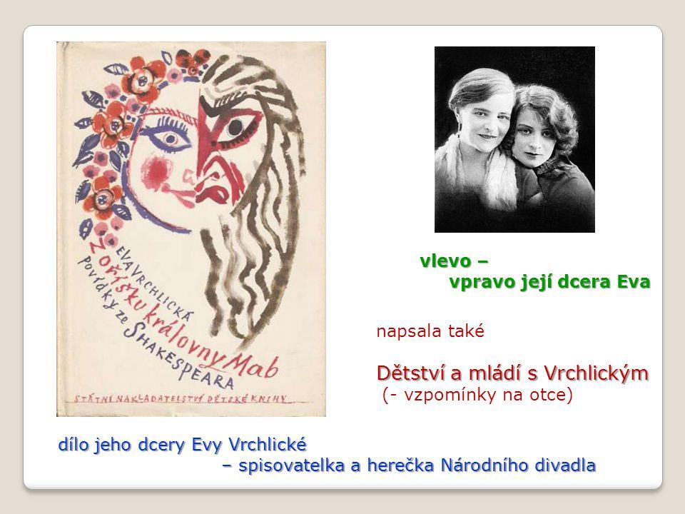 dílo jeho dcery Evy Vrchlické – spisovatelka a herečka Národního divadla – spisovatelka a herečka Národního divadla vlevo – vpravo její dcera Eva vpra