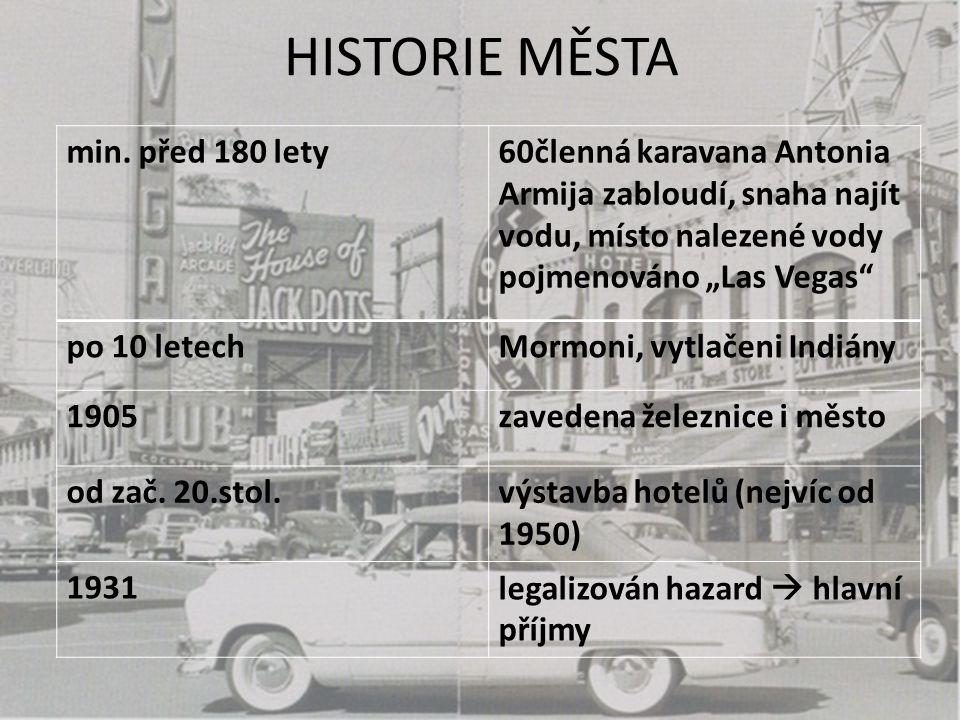 """HISTORIE MĚSTA min. před 180 lety60členná karavana Antonia Armija zabloudí, snaha najít vodu, místo nalezené vody pojmenováno """"Las Vegas"""" po 10 letech"""