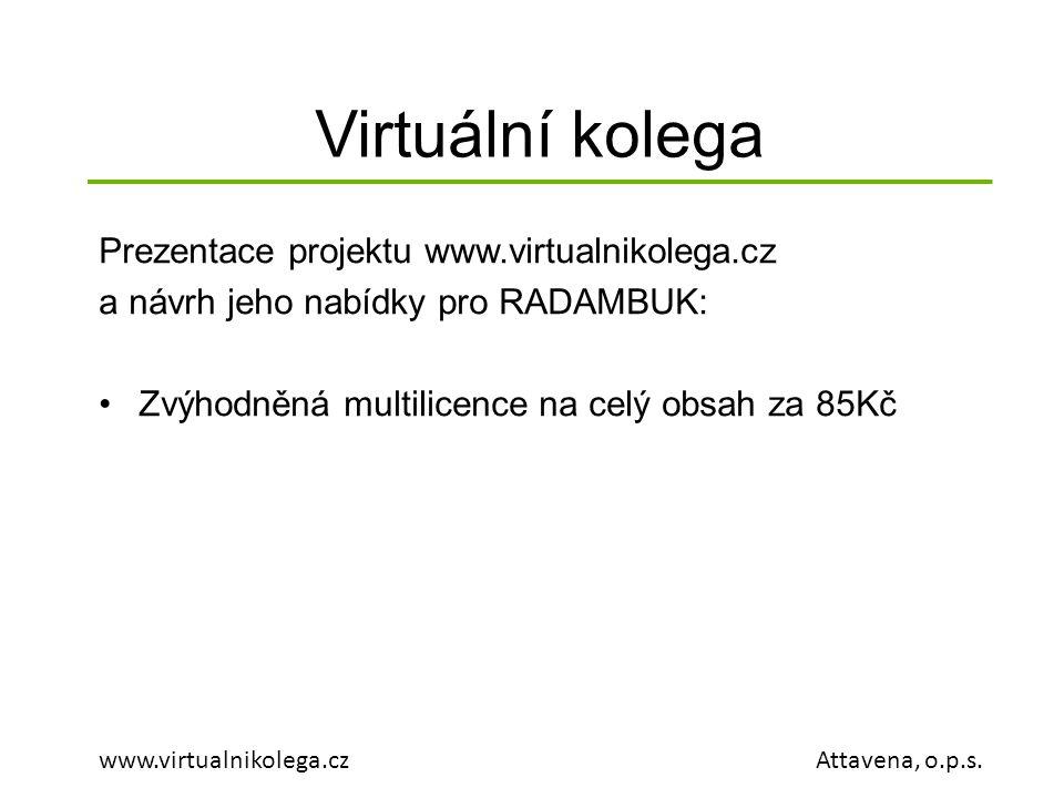 Virtuální kolega www.virtualnikolega.cz Attavena, o.p.s. Prezentace projektu www.virtualnikolega.cz a návrh jeho nabídky pro RADAMBUK: •Zvýhodněná mul