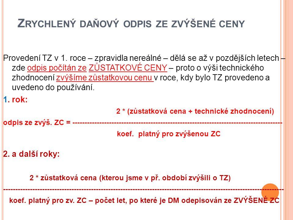 Z RYCHLENÝ DAŇOVÝ ODPIS ZE ZVÝŠENÉ CENY Provedení TZ v 1.