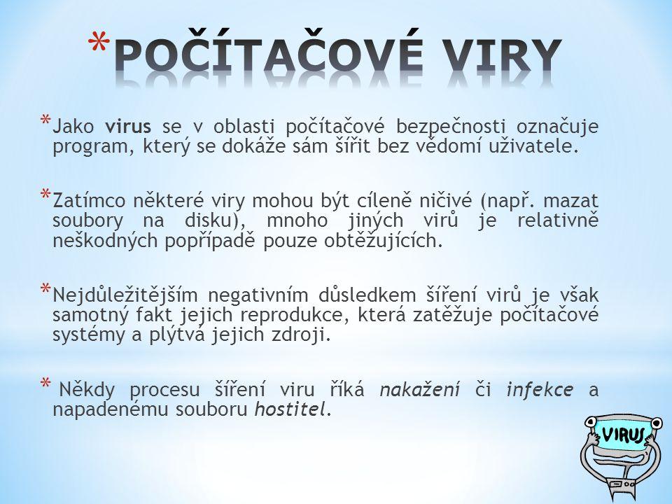 * Jako virus se v oblasti počítačové bezpečnosti označuje program, který se dokáže sám šířit bez vědomí uživatele. * Zatímco některé viry mohou být cí