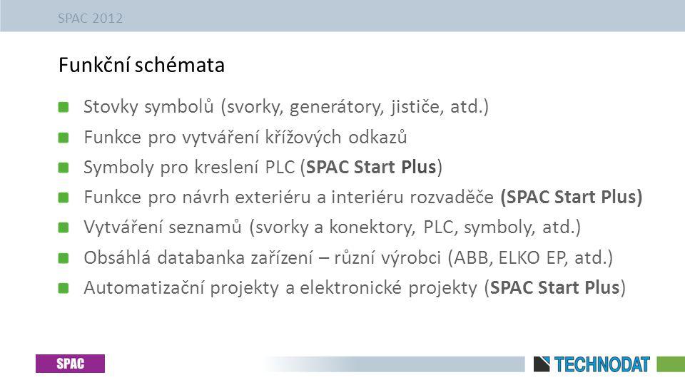 Stovky symbolů (svorky, generátory, jističe, atd.) Funkce pro vytváření křížových odkazů Symboly pro kreslení PLC (SPAC Start Plus) Funkce pro návrh exteriéru a interiéru rozvaděče (SPAC Start Plus) Vytváření seznamů (svorky a konektory, PLC, symboly, atd.) Obsáhlá databanka zařízení – různí výrobci (ABB, ELKO EP, atd.) Automatizační projekty a elektronické projekty (SPAC Start Plus) Funkční schémata SPAC 2012