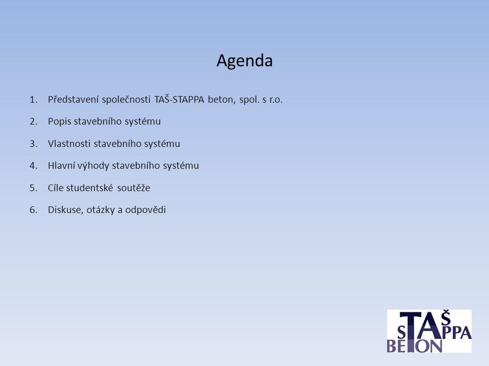 Agenda 1.Představení společnosti TAŠ-STAPPA beton, spol. s r.o. 2.Popis stavebního systému 3.Vlastnosti stavebního systému 4.Hlavní výhody stavebního