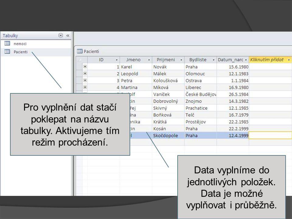 Pro vyplnění dat stačí poklepat na názvu tabulky.Aktivujeme tím režim procházení.