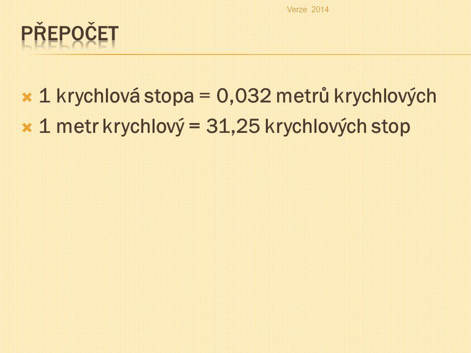  1 krychlová stopa = 0,032 metrů krychlových  1 metr krychlový = 31,25 krychlových stop Verze 2014