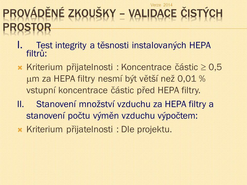 I. Test integrity a těsnosti instalovaných HEPA filtrů:  Kriterium přijatelnosti : Koncentrace částic  0,5  m za HEPA filtry nesmí být větší než 0,