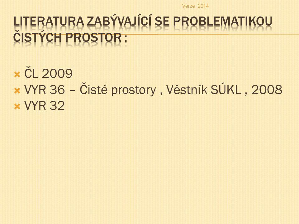  ČL 2009  VYR 36 – Čisté prostory, Věstník SÚKL, 2008  VYR 32 Verze 2014