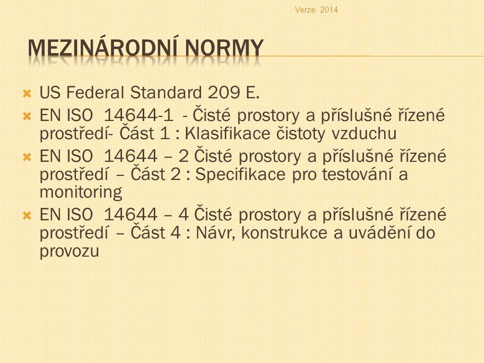 US Federal Standard 209 E.  EN ISO 14644-1 - Čisté prostory a příslušné řízené prostředí- Část 1 : Klasifikace čistoty vzduchu  EN ISO 14644 – 2 Č