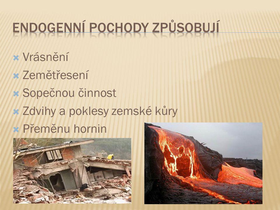  Vrásnění  Zemětřesení  Sopečnou činnost  Zdvihy a poklesy zemské kůry  Přeměnu hornin