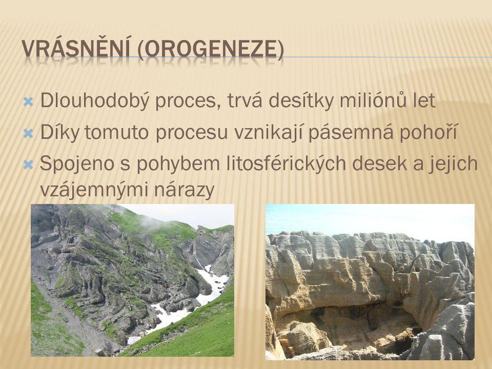  Dlouhodobý proces, trvá desítky miliónů let  Díky tomuto procesu vznikají pásemná pohoří  Spojeno s pohybem litosférických desek a jejich vzájemnými nárazy