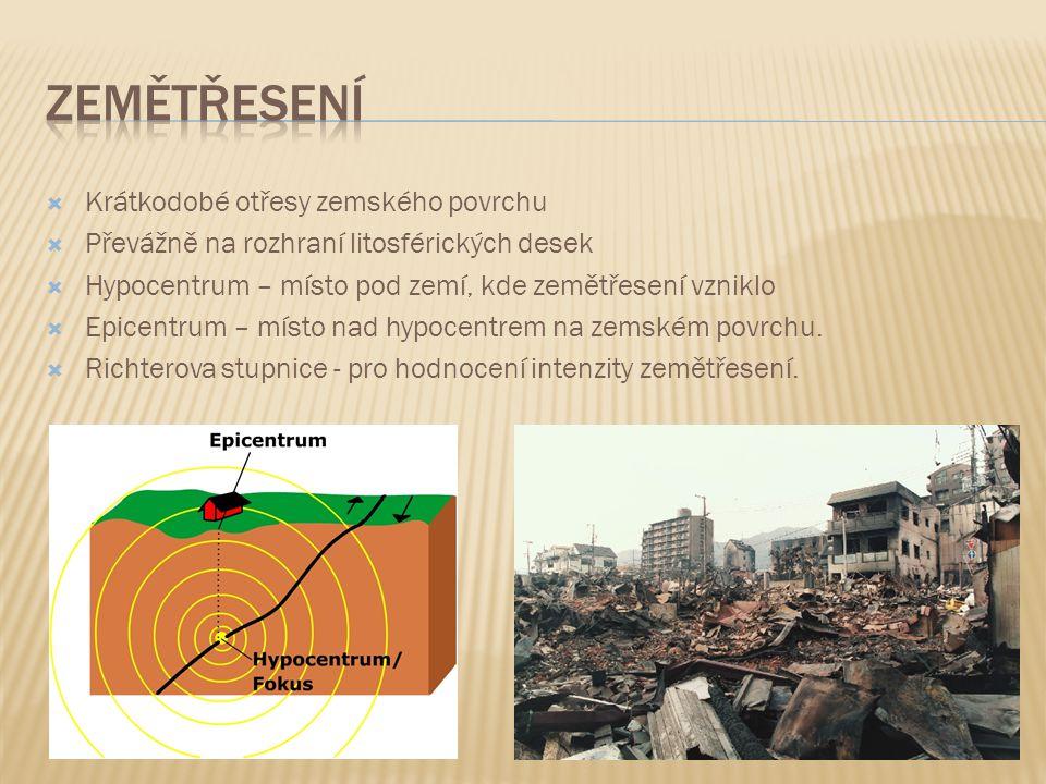  Krátkodobé otřesy zemského povrchu  Převážně na rozhraní litosférických desek  Hypocentrum – místo pod zemí, kde zemětřesení vzniklo  Epicentrum – místo nad hypocentrem na zemském povrchu.