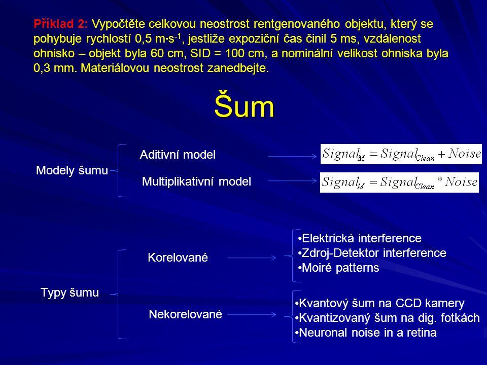 Šum Aditivní model Modely šumu Typy šumu Korelované •Elektrická interference •Zdroj-Detektor interference •Moiré patterns •Kvantový šum na CCD kamery