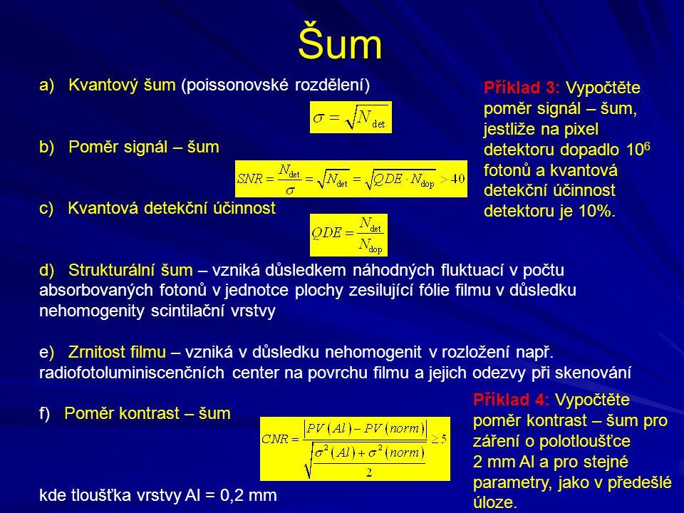 Šum a) Kvantový šum (poissonovské rozdělení) b) Poměr signál – šum c) Kvantová detekční účinnost d) Strukturální šum – vzniká důsledkem náhodných fluk