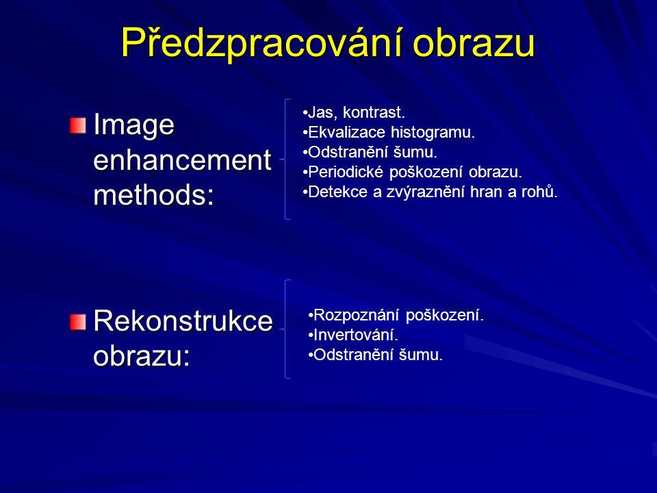 Předzpracování obrazu Image enhancement methods: Rekonstrukce obrazu: •Jas, kontrast. •Ekvalizace histogramu. •Odstranění šumu. •Periodické poškození