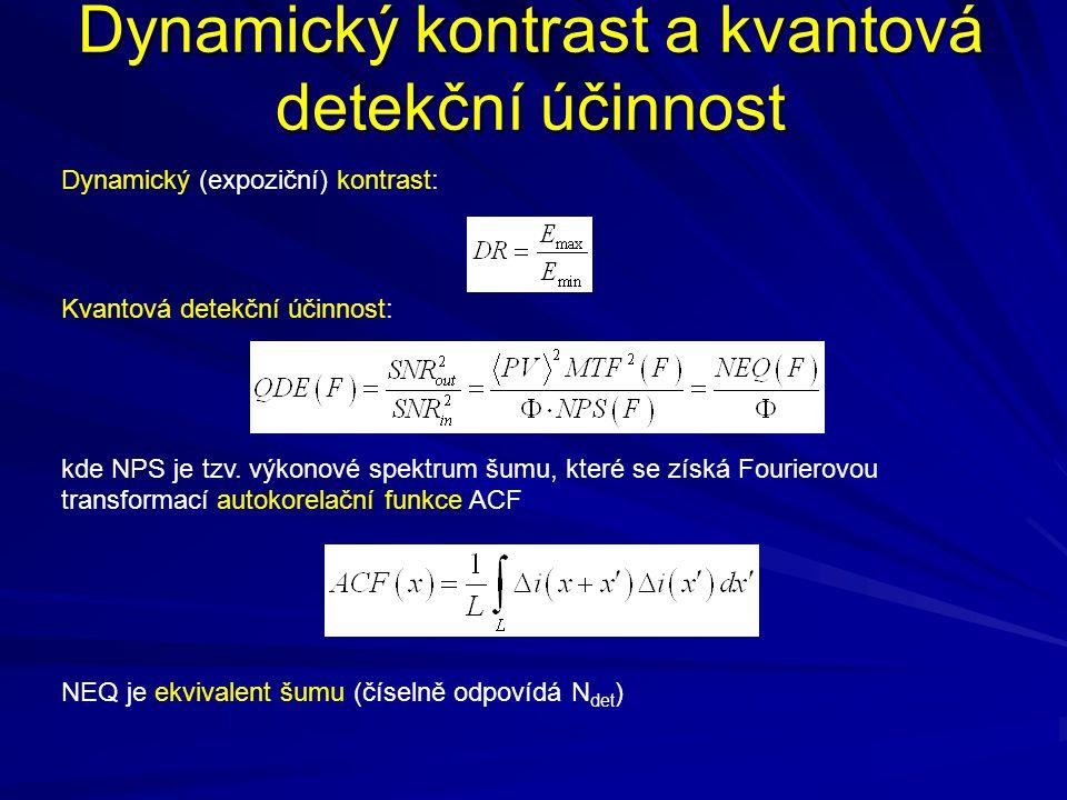 Dynamický kontrast a kvantová detekční účinnost Dynamický (expoziční) kontrast: Kvantová detekční účinnost: kde NPS je tzv. výkonové spektrum šumu, kt