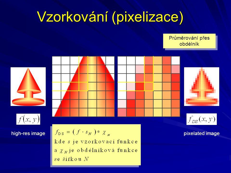Vzorkování (pixelizace) Průměrování přes obdélník high-res imagepixelated image