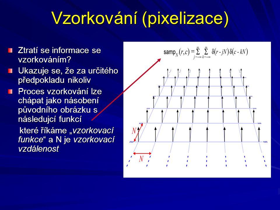 Vzorkování (pixelizace) Ztratí se informace se vzorkováním? Ukazuje se, že za určitého předpokladu nikoliv Proces vzorkování lze chápat jako násobení