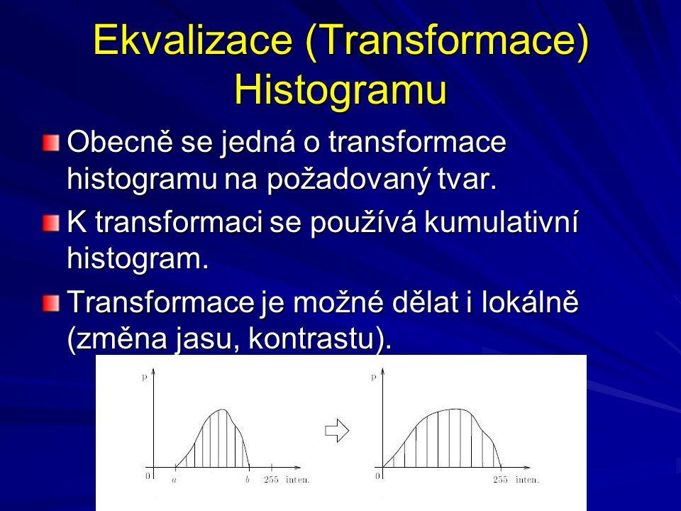 Ekvalizace (Transformace) Histogramu Obecně se jedná o transformace histogramu na požadovaný tvar. K transformaci se používá kumulativní histogram. Tr